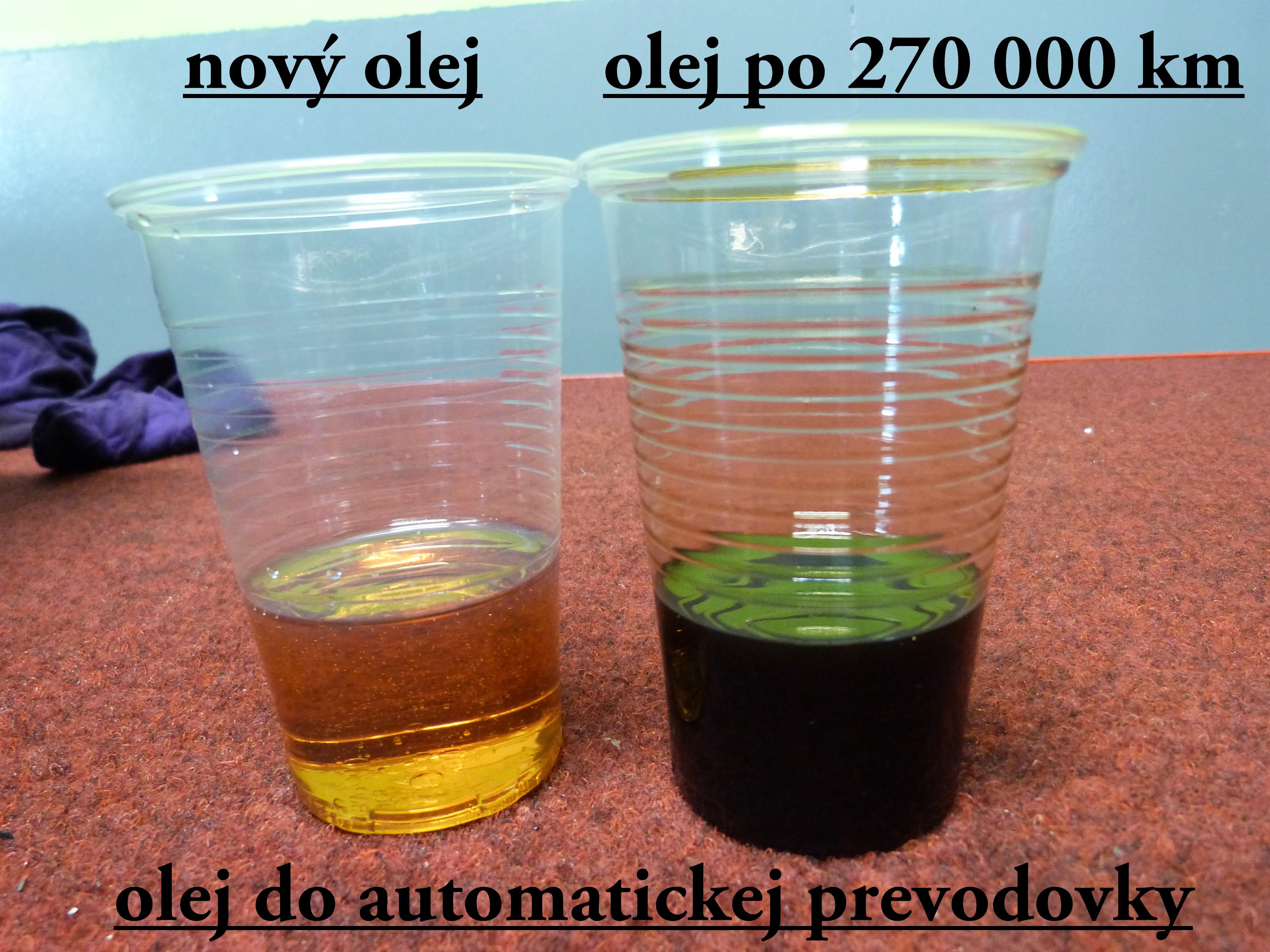 porovnanie nového a starého oleja do automatickej prevodovky